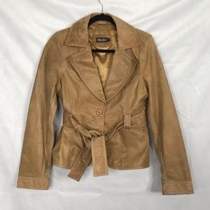 Soia & Kyo front wrap collared leather jacket
